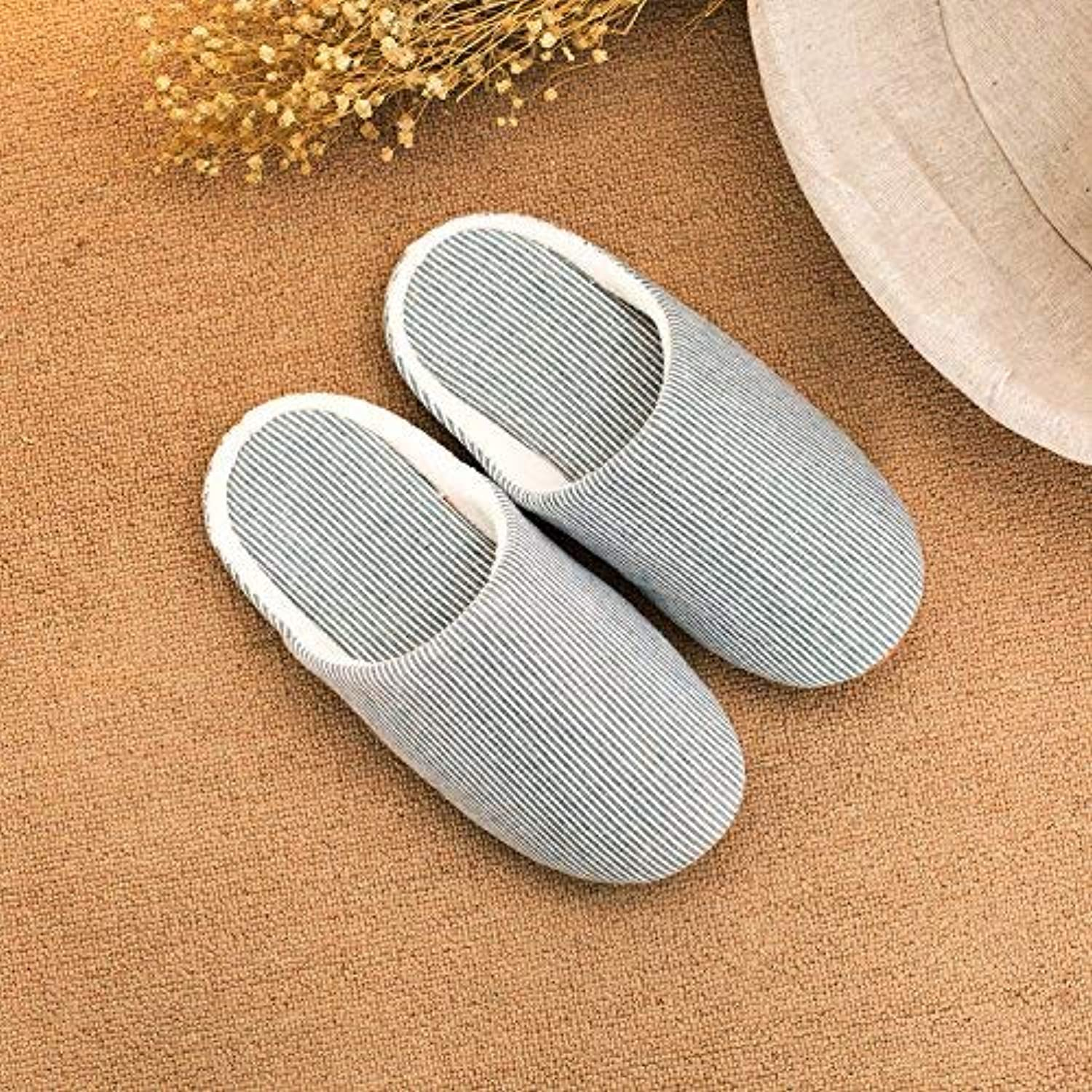 Lady Slippers Ladies Casual Slipper Indoor Slip in Autumn and Winter Warm Stripe Pattern Comfortable Classic Basic Super Soft Wool Slippers