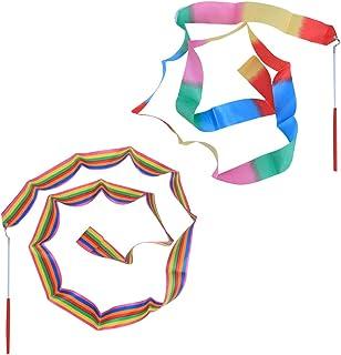 comprar comparacion LIOOBO 2 Unids 2 m Cintas de Gimnasia Bailando Bastones de Gimnasia Cintas rítmicas con Varita artística Gimnasia artístic...