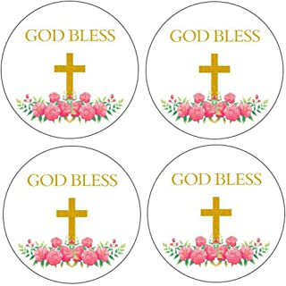 """2"""" Round 50 Pack Cross Stickers Candy Sticker Labels for Religious Party, Baptism, Confirmation, Christening, First Commun..."""
