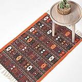 Homescapes Kelim-Teppich, handgewebt aus Baumwolle, 70 x 120 cm, bunter Baumwollteppich mit geometrischem Muster und Fransen