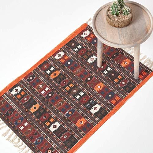 Homescapes Kelim-Teppich, handgewebt aus Baumwolle, 60 x 90 cm, bunter Baumwollteppich mit geometrischem Muster und Fransen