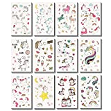WATINC 24 Sheets Unicorn Temporary Tattoos for Boys and Girls, 12 Patterns Sheet