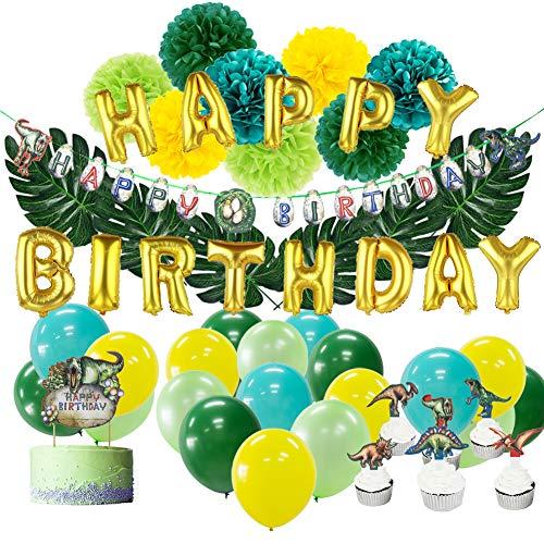 SUNBEAUTY Dinosaurier Party Dino Geburtstag Dekoration Set Cupcake Tortendeko Happy Birthday Girlande Kindergeburtstag Deko