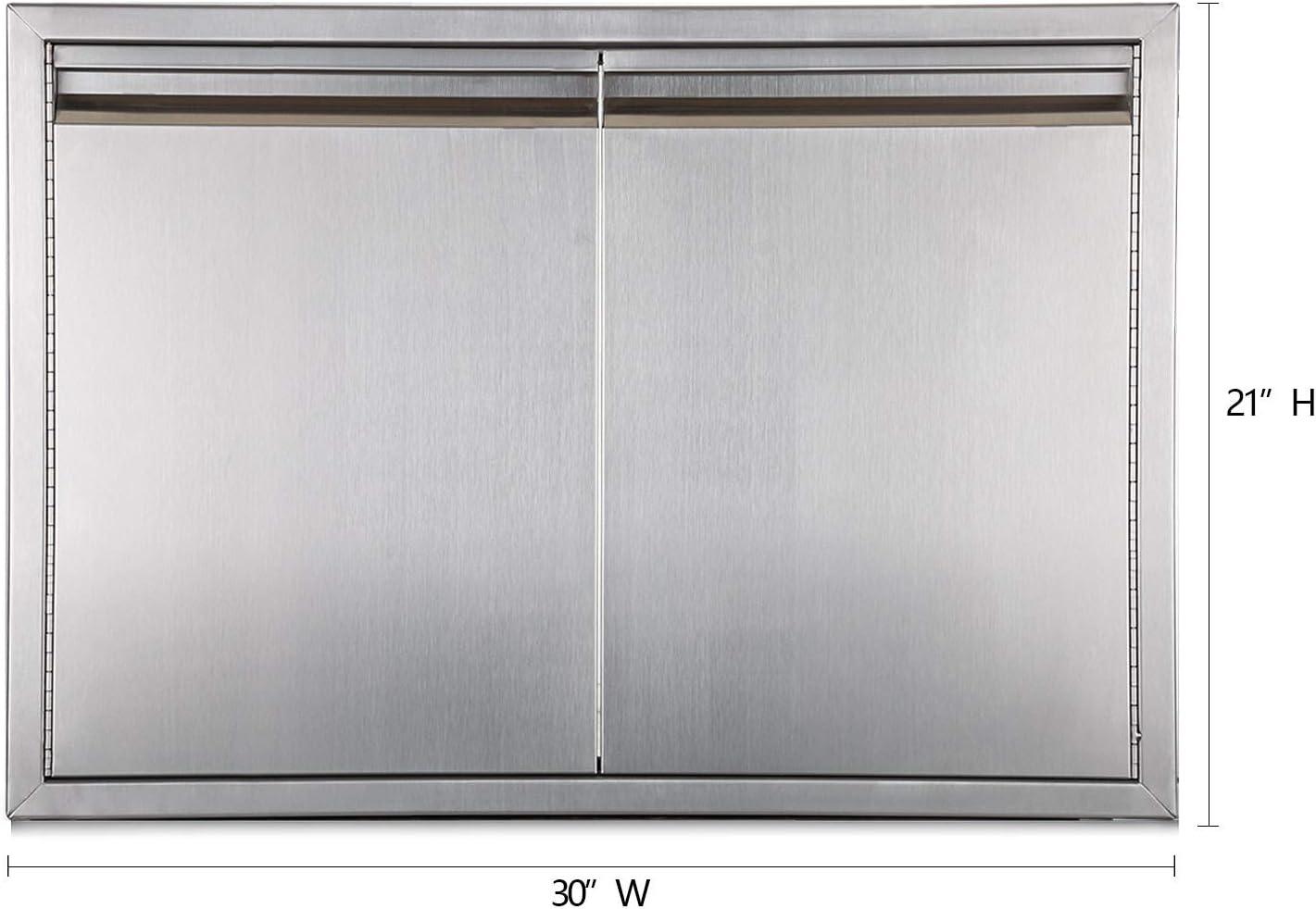 Outdoor Kitchen Door 18W x 21H inch Double Wall Door Panel Stainless Steel BBQ Single Door Flush Mount for Outdoor Kitchen Island w//Left Swing