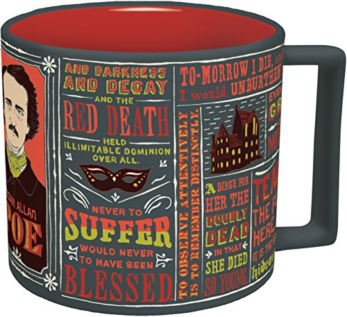 Edgar Allan Poe Coffee Mug - Poe's Most Famous Quotes and Writings - Comes in a Fun Gift Box - by The Unemployed Philosophers Guild