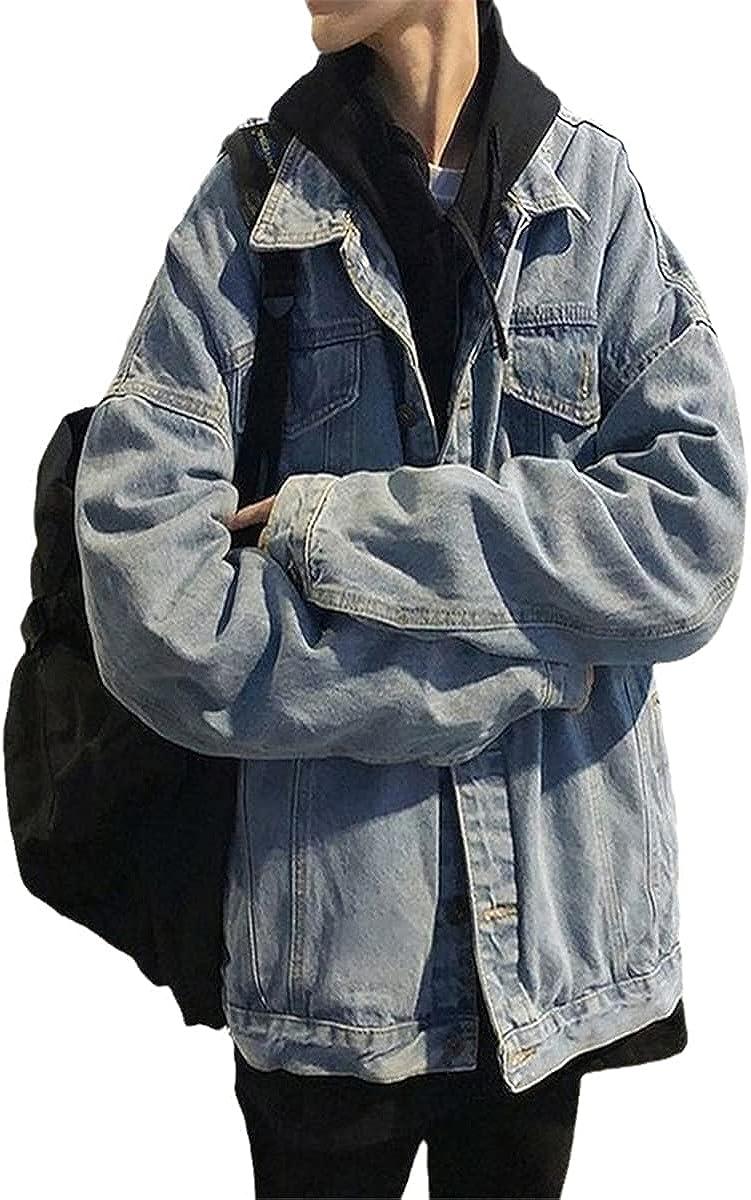 Men's Jacket Denim Loose Street Wear Casual Jacket Retro Autumn Korean Fashion Solid Color
