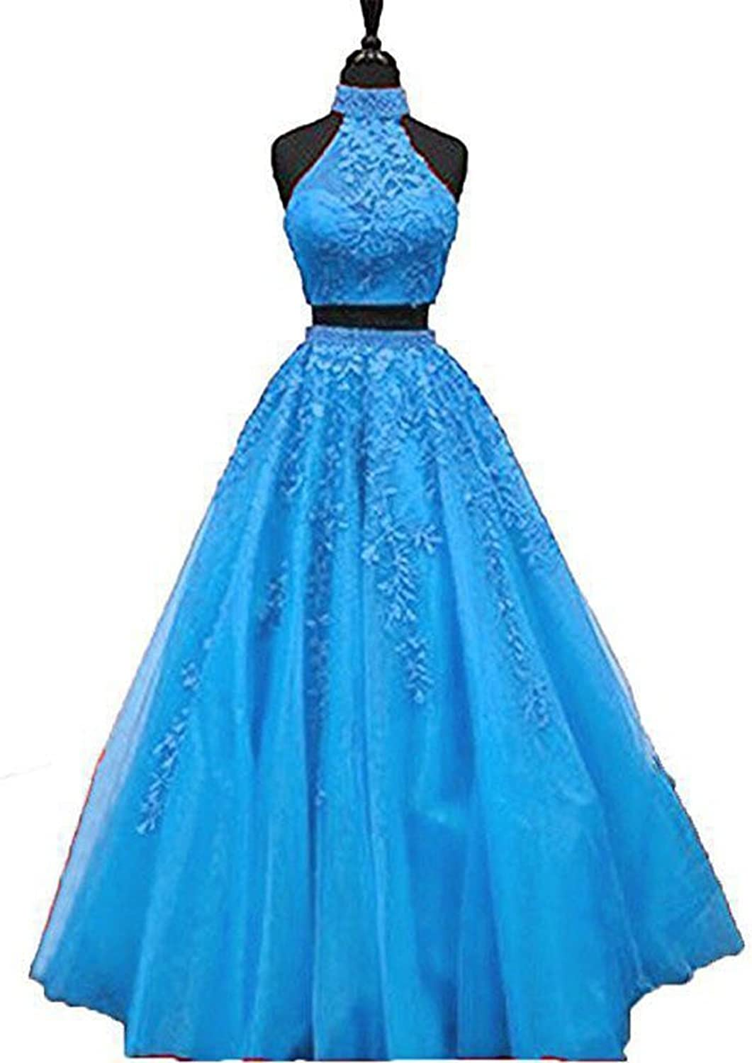 CCBubble 2 Piece Lace Prom Dresses 2018 O Neck Prom Evening Party Dress