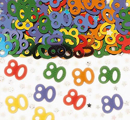amscan Chiffre 80 Multi confettis métalliques 14g
