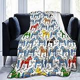 WAUKaaa Fleecedecke, buntes Pferdemuster, ultraweich, Samt, Fleecedecke, 203 x 152 cm