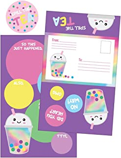 iscream 'Bubble Tea' Pack of 8 Fold-over Ready to Send Note Cards