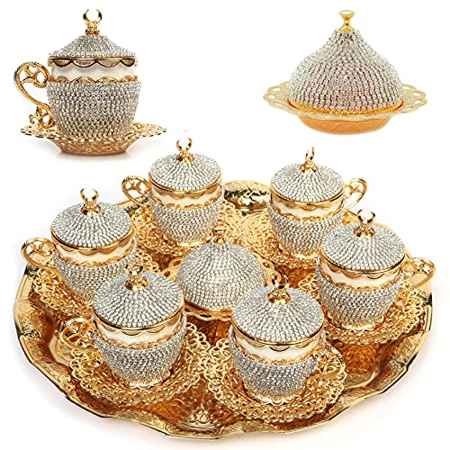 Alisveristime 27 Pc Turkish Greek Arabic Coffee Espresso Cup Saucer Crystal Set Set (Gelincik) (Gold)