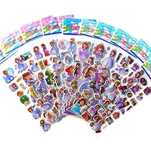 3D-blaassticker, cartoon voor meisjes, dieren, auto, kat, puppy, paard prinses, film, karakter gesneden stickers voor kinderen, cadeau