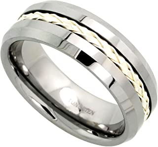 Tungsten Carbide 8 mm Flat Wedding Band Ring Sterling Silver Rope Inlay Beveled Edges, sizes 7 to 14