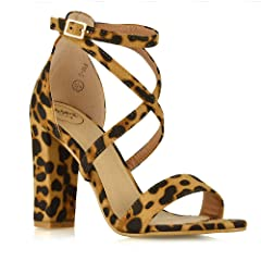 c4dc14570 WOMENS ANKLE STRAP BLOCK HEEL SANDALS LADIES STRAPPY BUCKLE PROM ...