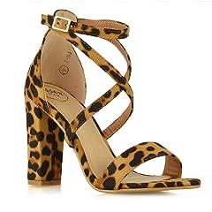 765f3b89b ESSEX GLAM Womens Chunky Block Heel Strappy Ankle Strap Sanda .