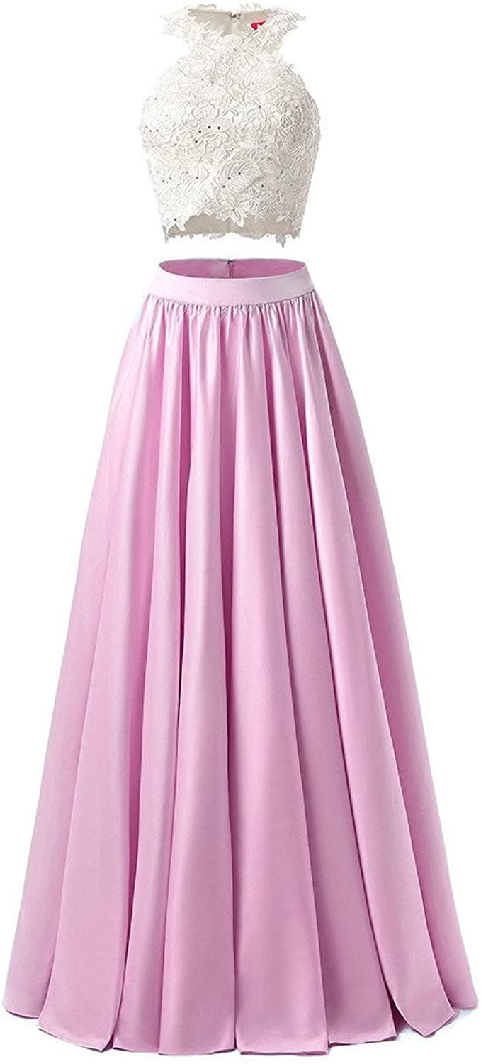 Women's Two Piece Prom Dresses Top Lace Long Evening Gown