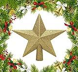 KEEOU 3D Glitter Christmas Tree Topper, Shatterproof Christmas Tree Decoration Star Tree Topper for Crown Christmas Tree,...