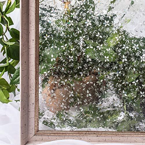 LMKJ CottonColors Películas para Cubrir Ventanas, Pegatinas Decorativas de Flores estáticas 11D sin Pegamento, Pegatinas de Vidrio para Ventanas Z41 60x200cm