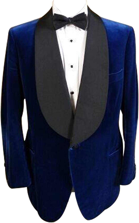 HBDesign Mens 1 Piece 1 Button Shawl Lapel Slim Fit Royal Blue Suit Jacket