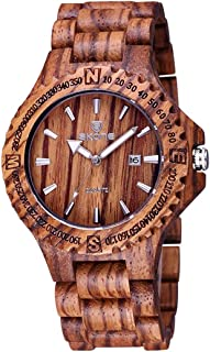 Fashion Watches Round Dial Calendar Display Nail Scale Men Quartz Watch with Sandalwood Band