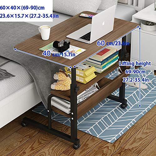 Stahlrohr Laptoptisch Für Couch mit Braunes MDF,Höhenverstellbar, Abschließbare Rollen, 3 Lagerschichten,Höhenverstellbare Füße Küche für Sofa Couch, Laptop Tisch, Klappbarer Computertisch, Laptop St