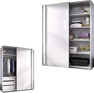 HABITMOBEL Armario Dormitorio ropero Estantes + Cajonera Blanco Brillo Medidas: 150 Ancho x 204 x 65 cm Fondo