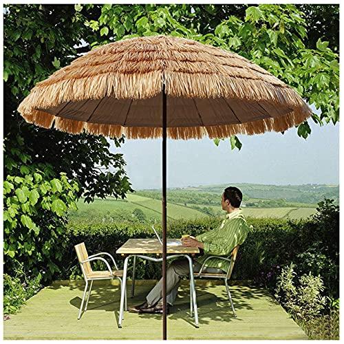Y&J Parasol Jardin Exterior 2 M, con Inclinación, Sombrillas de Paja Hawaiana Sombrillas Playa Protección Solar para Cafés, Terraza, Patio Piscina