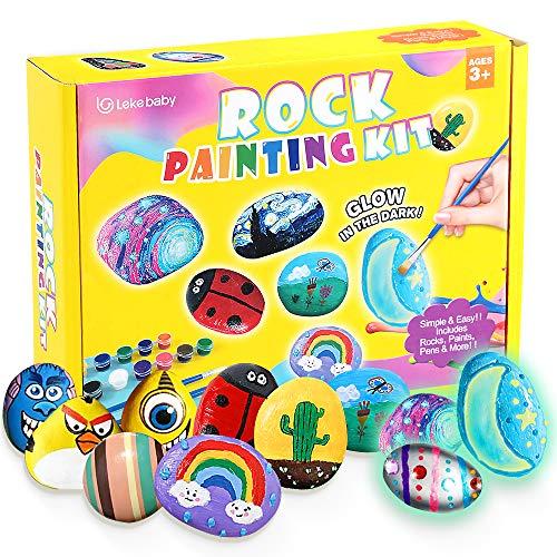 Lekebaby Steine Bemalen Set, Bastelset Kinder Steine Malen Set, Bastelset Geschenk Spielzeug für Mädchen Jungen ab 3 Jahre