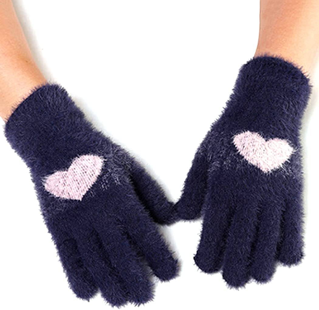 Outgeek Women Touchscreen Gloves Heart Fashion Washable Elastic Breathable Warm Gloves Winter Gloves Acrylic Fiber