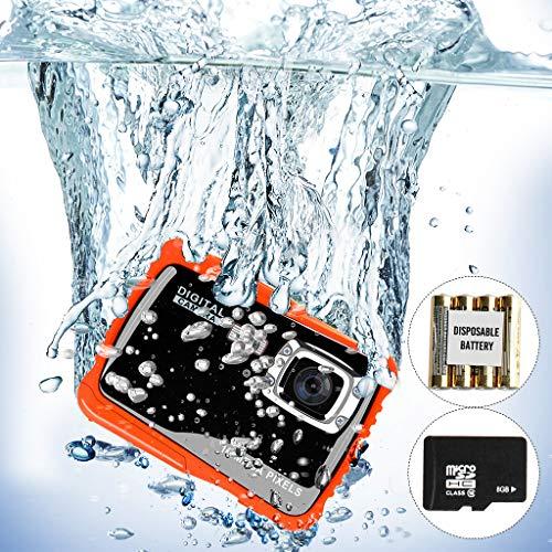 Unterwasser Kinderkamera-12MP HD wasserdichte Digitalkamera,Mini Camcorder Kinderkamera,2.0 Zoll LCD Bildschirm Anzeige,4X Digitaler Zoom,5MP CMOS-Sensor(Geschenk 8GB Speicherkarte & Batterien)
