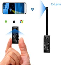 GXSLKWL WiFi HD 1080P Mini Spy Camera 2 Lens Portable Hidden Camera Wearable Nanny Body Camera for Mobile APP with Motion ...
