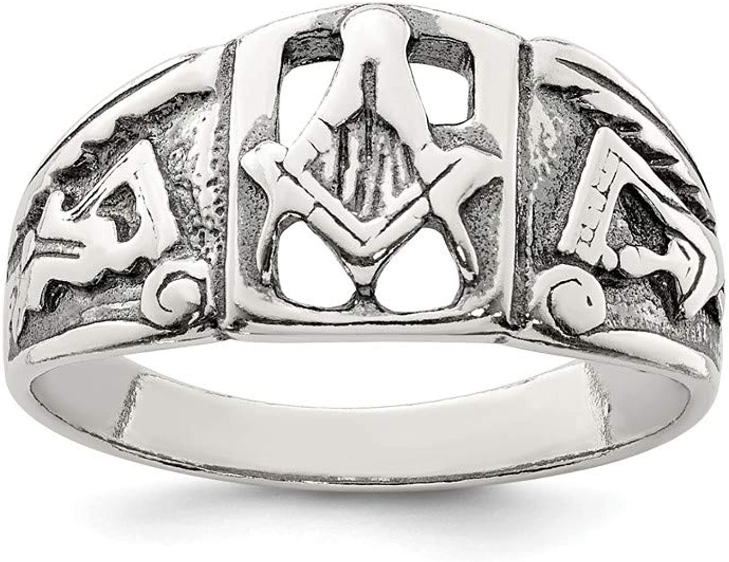 Beautiful Sterling silver 925 sterling Sterling Silver Antiqued Masonic Ring