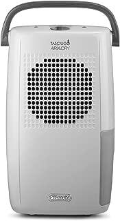De'Longhi Tasciugo AriaDry DX10.WGY Deshumidificador, Depósito agua extraíble, Habitaciones de 50 m2, Función secado ropa, Filtro anti-polvo, Sistema dual de drenaje, 2 litros, Blanco y gris