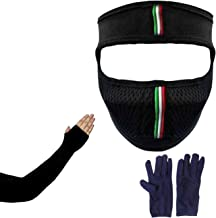 Aadishwar Creations® bike riding & cycling anti pollution full face cover mask with free Black Sleeve and Blue Gloves - pa...