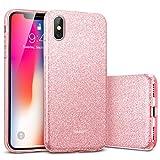 """ESR Funda para iPhone XS/X, Blindada Brillante[Protección a Bordes y Cámara] [Compatible con Carga Inalámbrica] TPU + Plástico Duro para Apple iPhone XS/X de 5.8""""-Oro Rosa"""