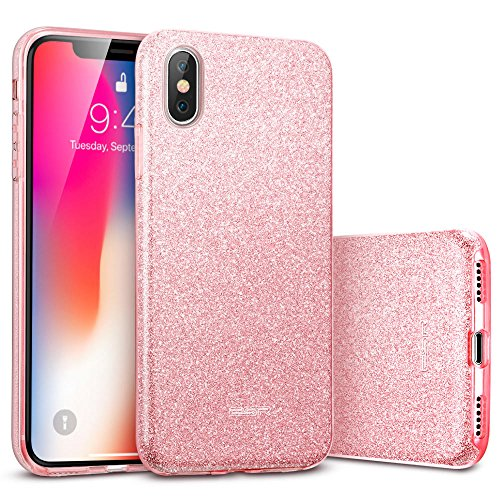ESR Cover per iPhone XS/X, Custodia con Glitter Bling Scintillante Brillantini [Tre Strati] per Donna [Supporta la Ricarica Wireless] per per iPhone XS/X, Oro Rosa