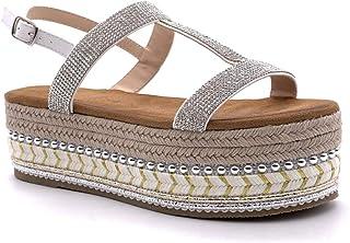 e30dc5f441f Angkorly - Zapatillas Moda Sandalias Alpargatas Plataforma Folk/Etnico  comode Mujer Strass Perla con Paja