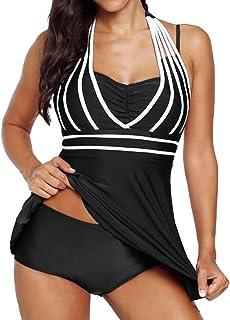 e208d52bcd50 Donna Elegante Tankini Push Up Conservatorismo Moda Mare Bikini Set Collo  Capestro Senza Schienale Vintage Costume
