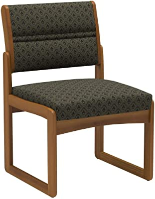 Wooden Mallet DW2-1 Valley Armless Guest Chair, Medium Oak/Arch Khaki