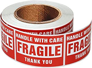 enKo - 2 x 3 Inch Fragile Stickers Handle with Care Warning Packing Shipping Label - Permanent Adhesive (1 Roll, 500 Labels)
