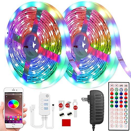Karrong LED Strips 10m, LED Licht Streifen Musik Sync Farbwechsel Wasserdicht Light Strip, Einstellbare Helligkeit Timing mit Fernbedienung APP Bluetooth Kontroller für Schlafzimmer Party Dekoration
