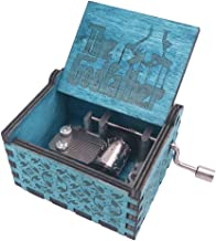 The Godfather Music Box Hand Crank Musical Box Carved Wooden,Play The Theme Song of The Godfather,Blue