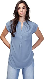 Pleione Sleeveless Button Down Henley Blouse Print Shirt with Front Chest Pocket