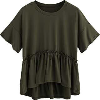 Romwe Women`s Loose Ruffle Hem Short Sleeve High Low Peplum Blouse Top
