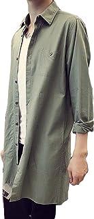 Lisa Pulster チェスターコート スプリングコート ロングコート メンズ シャツコート カジュアル 無地 ミリタリーライトアウター 薄手 春
