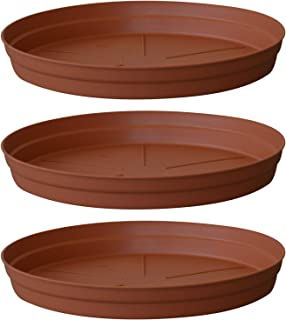 ALMI Carmel Plastic Plant Saucer Drip Tray 12-inch [3 Pack] Ideal for 19-inch Round Base Planter - for Plants, Flowers, Pot, Indoor, Outdoor - Terracotta