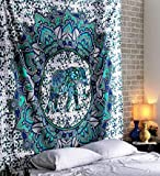 RAJRANG BRINGING RAJASTHAN TO YOU Tapiz Elefante Mandala - Hippie Bohemio Sala Decorativo Etnica India Algodon Decoracion de Navidad - Verde Azulado - 228 x 213 cm