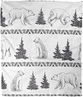 Emvency Throw Blanket Warm Cozy Print Flannel Polar Bears and Firs Wild North Animals Trees Winter Tribal American Indian New Comfortable Soft for Bed Sofa and Couch 60x80 Inches