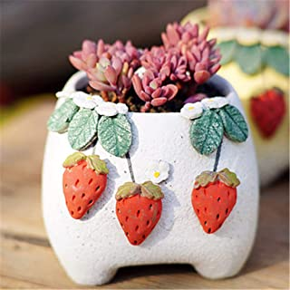 White Strawberry Mini Green Plant Container Ceramic Flower Pot, Plant Stand Flower Stand Desk Desktop Indoor Home and Garden, Plant Pot