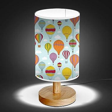 ARTSYLAMP - Wood Base Decoration Desk Table Bedside Light Lamp [ Hot Air Balloons ]